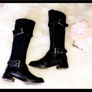 COLE HAAN Black Leather Tall Boots